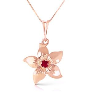 14K. SOLID GOLD FLOWER NECKLACE WITH NATURAL RUBY
